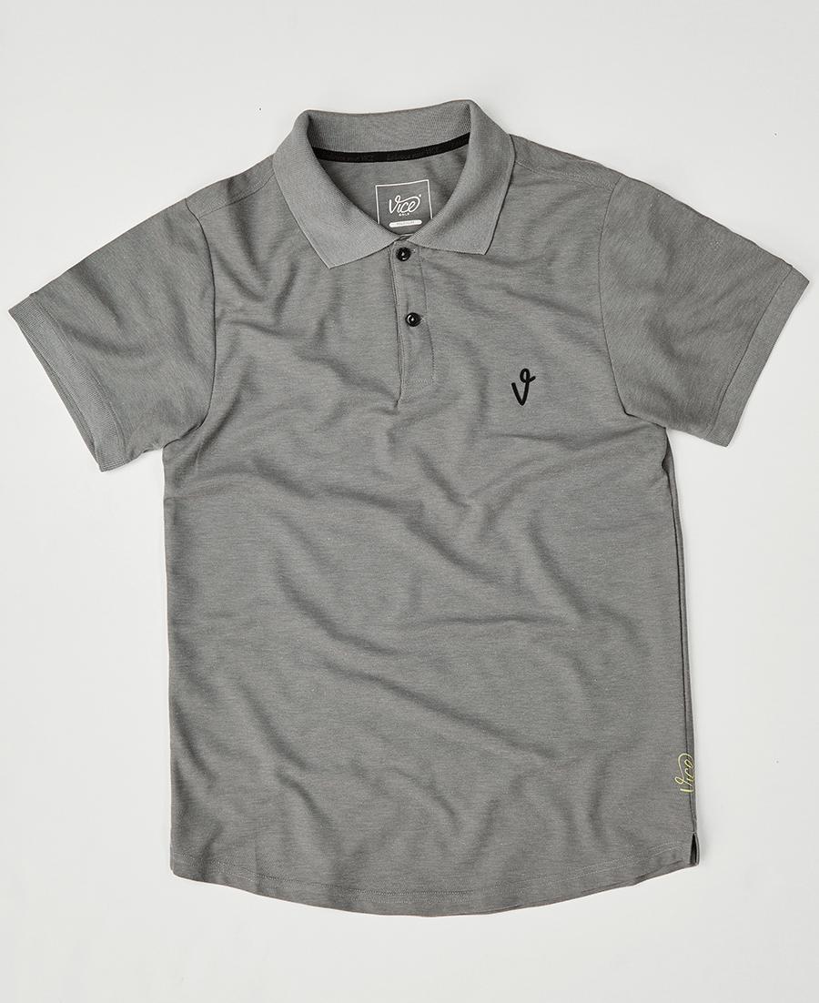 Vice Golf Polo Shirts V Logo Gray Heather