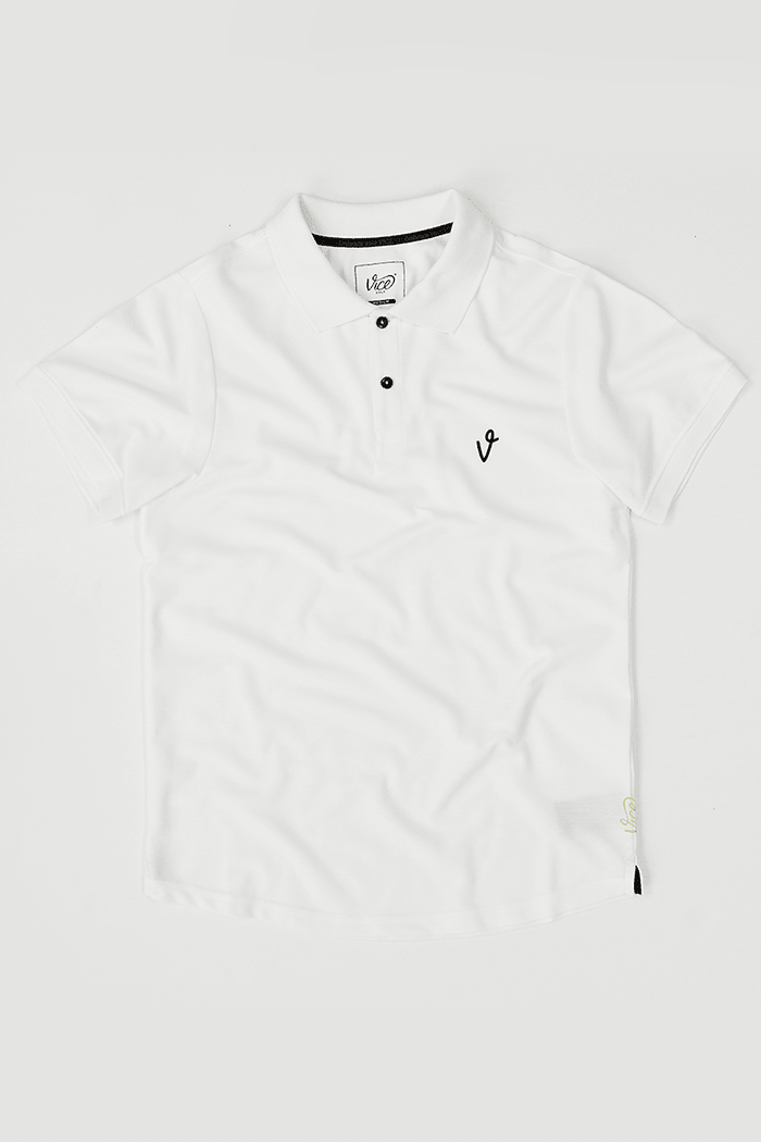 Vice Golf Polo Shirts V Logo White