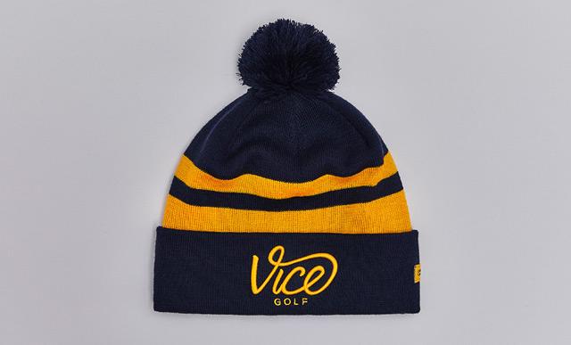 fb2dc7e6882 VICE Golf Crew Pom-Pom Beanie - Navy-Gold - VICE Golf EU